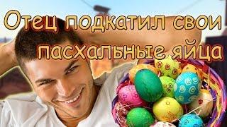 Отец подкатил свои пасхальные яйца