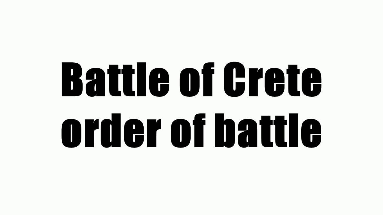 Battle of Crete order of battle