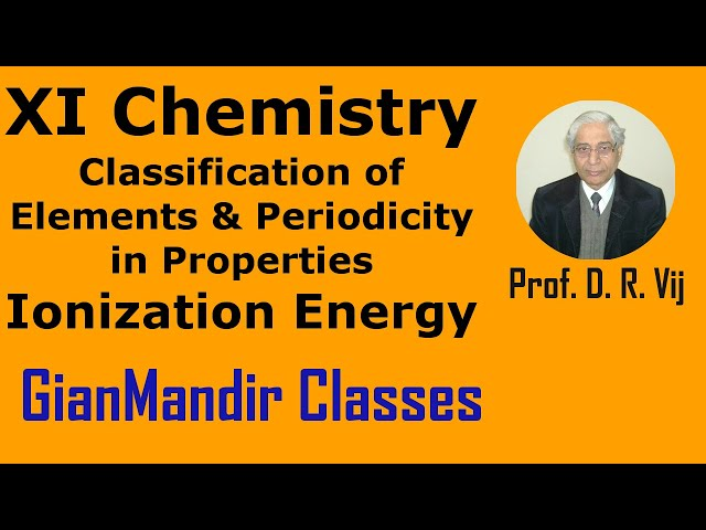XI Chemistry|Classification of Elements and Periodicity in Properties|Ionization Energy by Ruchi Mam
