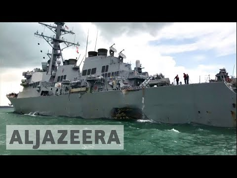 Thumbnail: Sailors missing after US destroyer collides with oil tanker