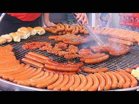 Poland Street Food, Kielbasa Sausages And More Meat Roasted On Grill