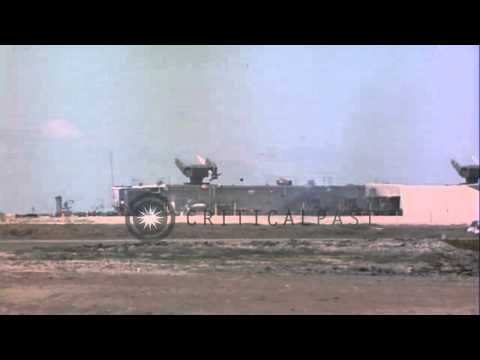 Terrier missile being launched from a cement structure  in the United states. HD Stock Footage