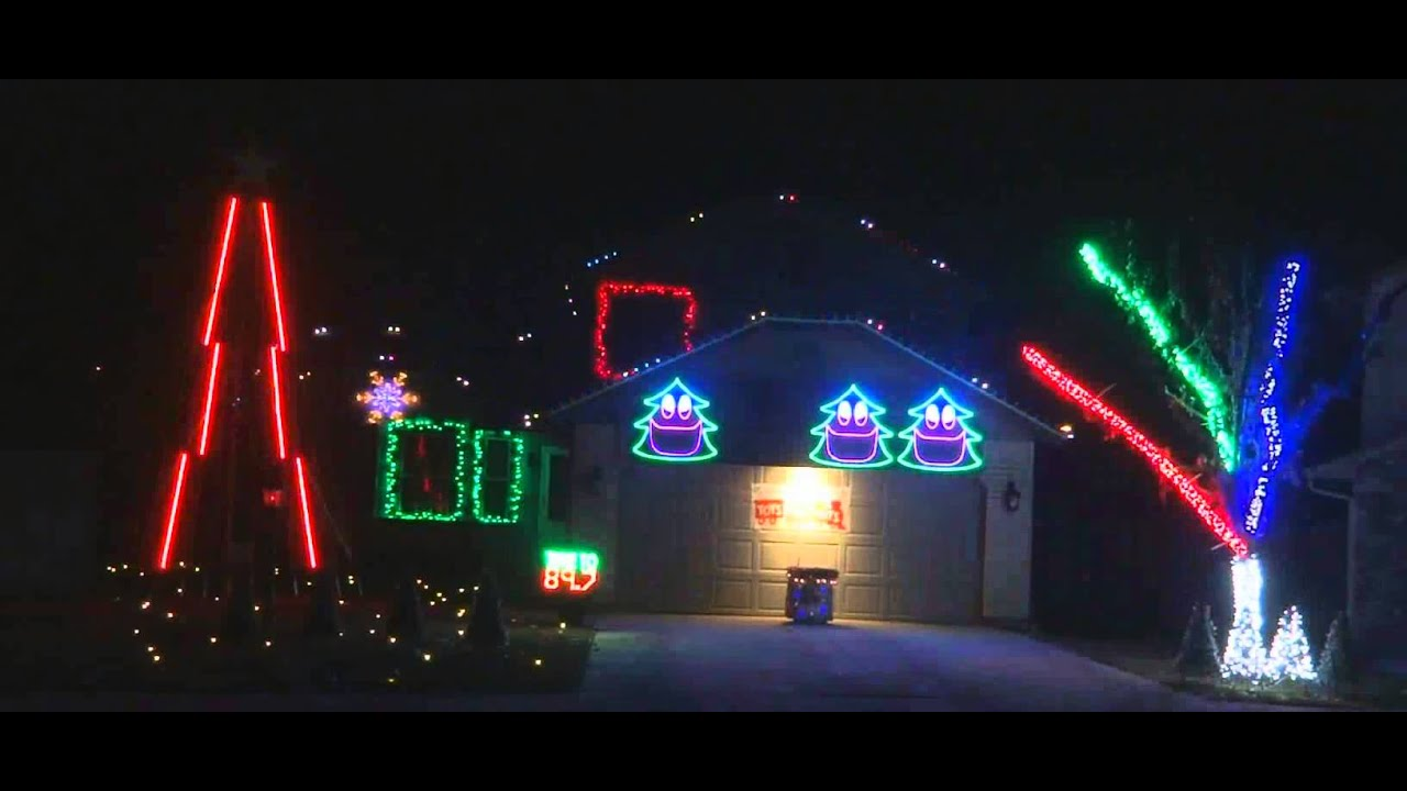 Christmas Light Display to  Deck The Rooftop  in Boise Idaho.. Great! & Christmas Light Display to