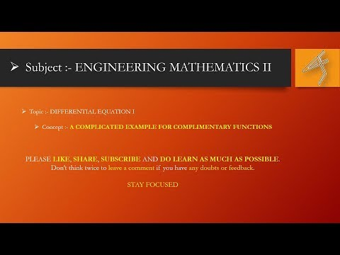 Example 2 on COMPLIMENTARY FUNCTIONS and HDE - Engineering Mathematics 2
