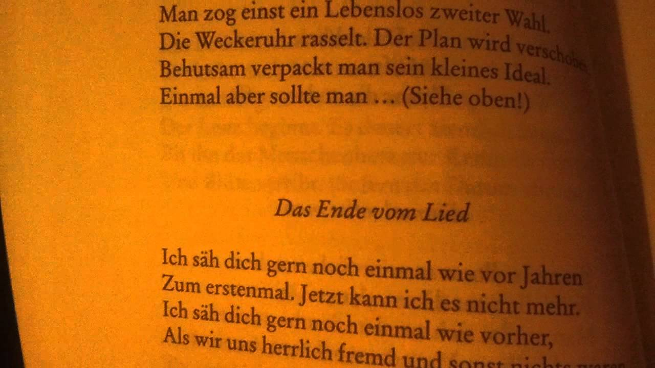 Mascha Kaléko Das Ende Vom Lied