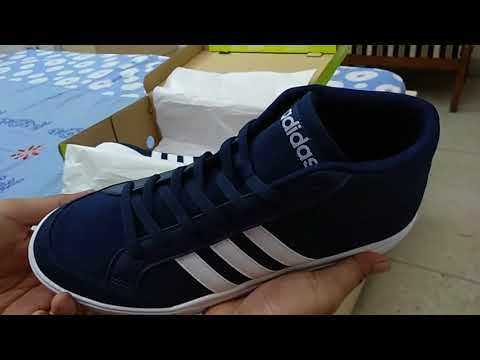 Adidas Neo VS SET MID Tennis Shoes (Blue) UNBOXING - YouTube