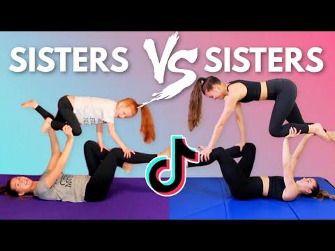 SISTERS VS SISTERS Tik Tok Acro Gymnastics Challenge!