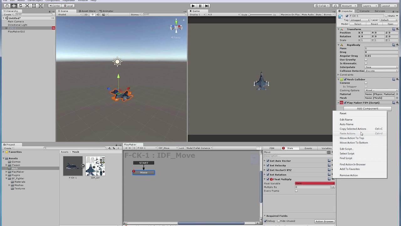 Unity +Playmaker 射輯遊戲