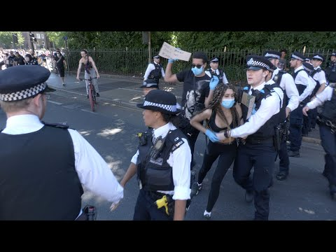 Skirmish With Police At Black Lives Matter Protest In London, UK