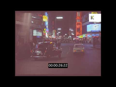 1960s Piccadilly, Shaftesbury Avenue at Night, London in HD