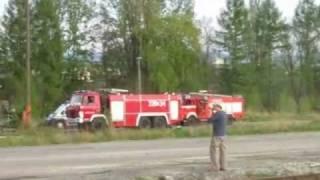 Duży pożar hali spedycyjnej przy ul. Okrzei w Bielsku - Białej dn. 23.04.2011r.