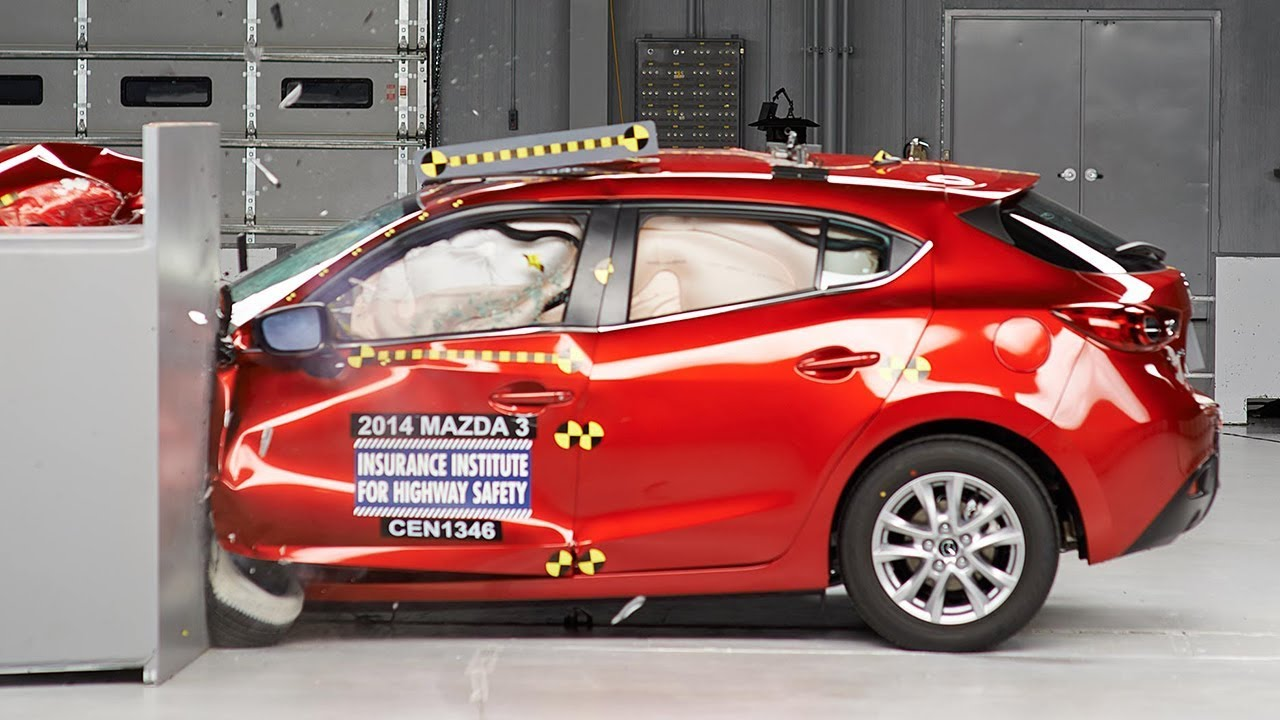 Superior 2014 Mazda 3 Hatchback Driver Side Small Overlap IIHS Crash Test   YouTube
