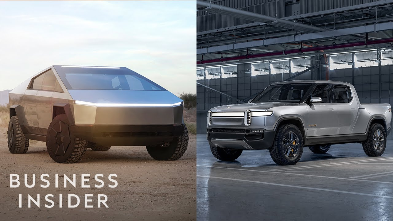 How Tesla S Cybertruck Stacks Up Against The Rivian R1t Electric Truck Youtube
