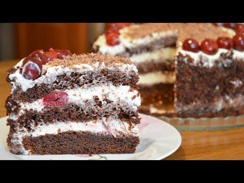Простенький торт с вишней 🍒Просто прелесть!