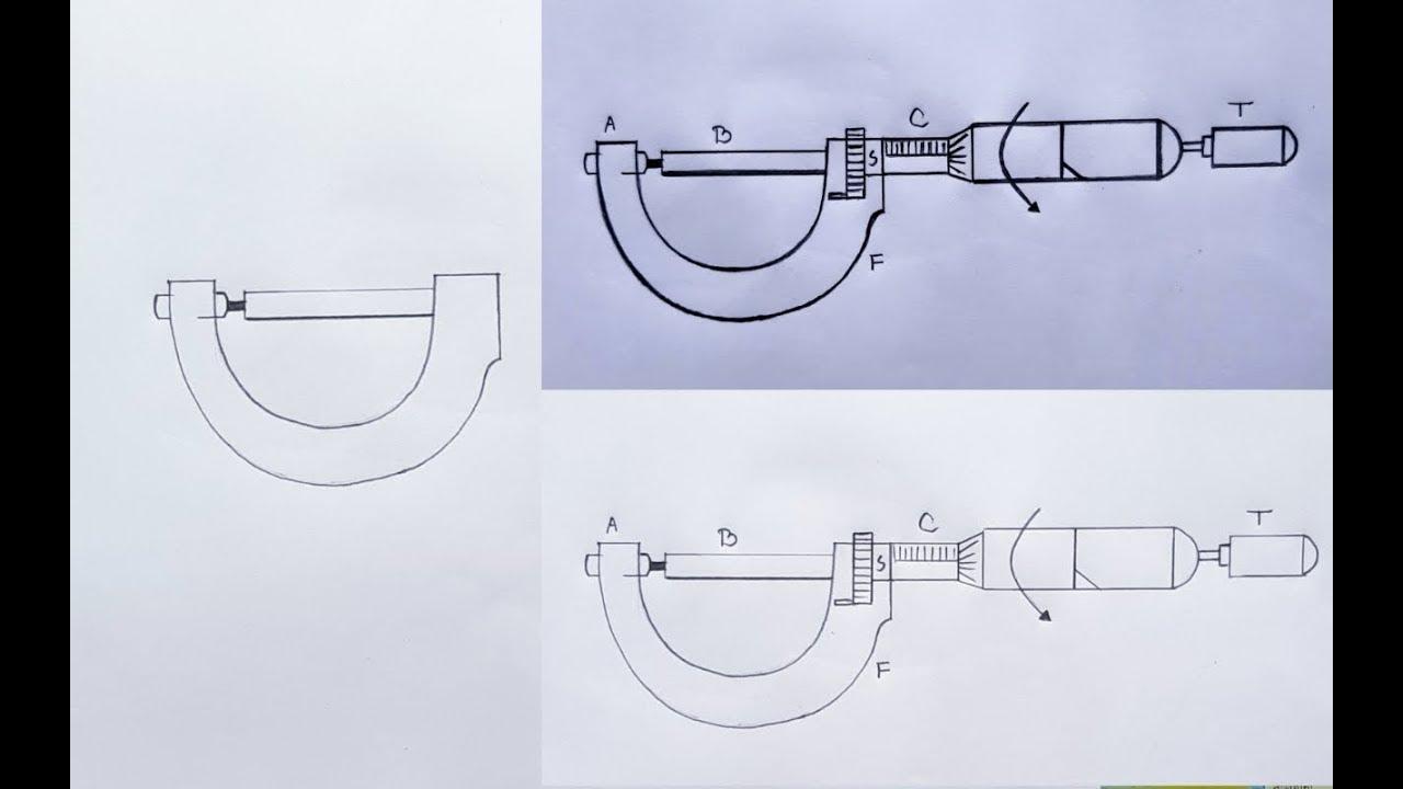 How to draw Micrometer step by step // Screw gauge (স্ক্রু গজ) - YouTubeYouTube