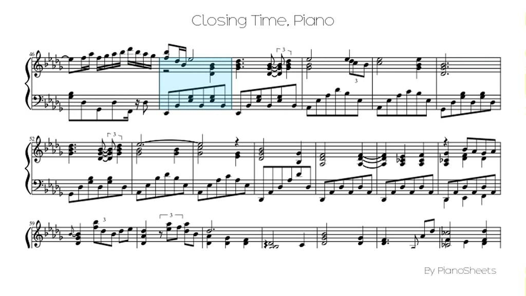 Closing Time [Piano Solo] - YouTube