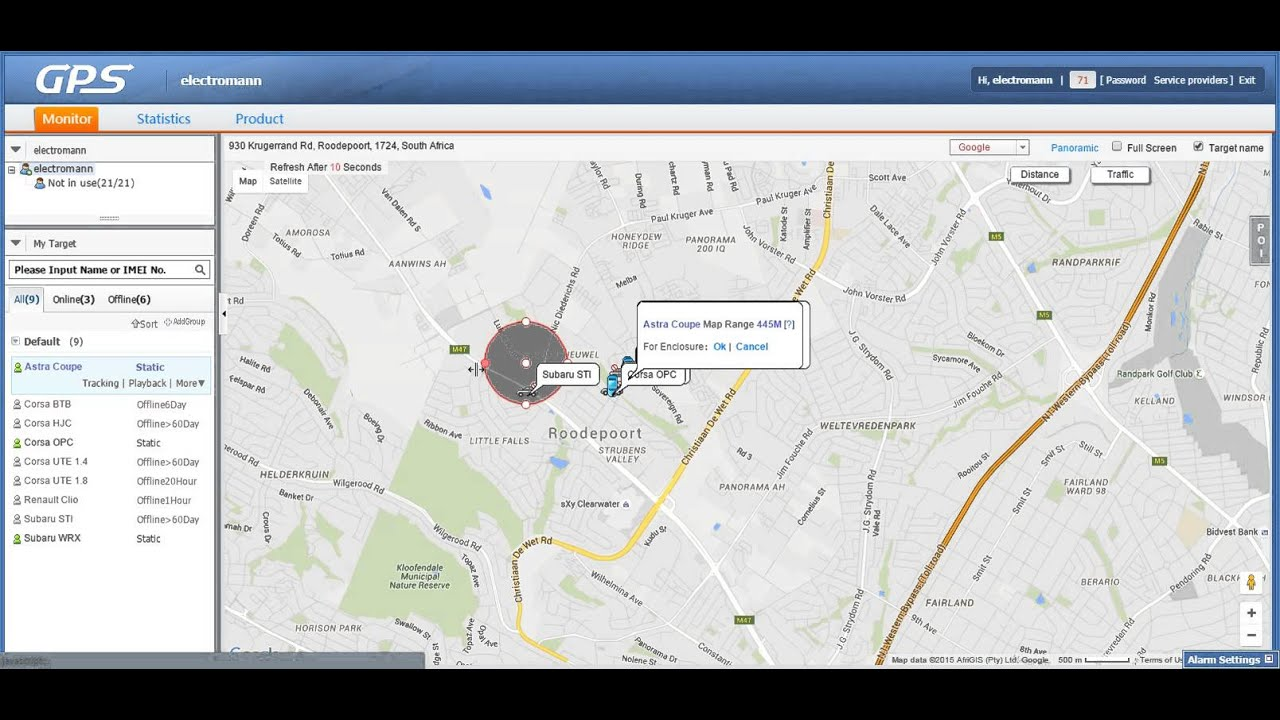 How to setup Geofence on www cootrack net