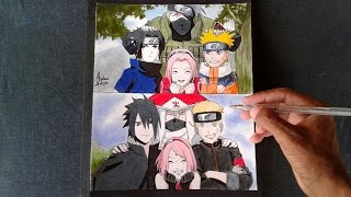 Speed drawing - Team 7 ( homenagem Naruto)