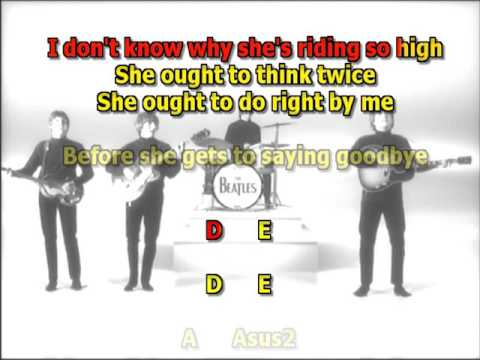 Ticket to ride Beatles best karaoke instrumental lyrics chords