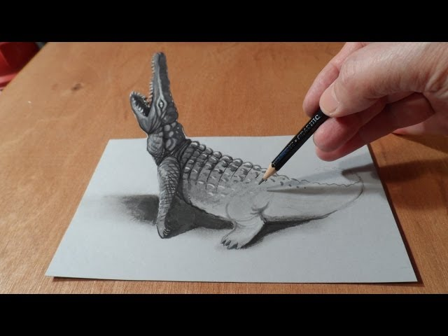 Trick Art, Drawing 3D Crocodile, Time Lapse