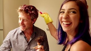 DYING DADS HAIR PINK!! DIY! (ft. The Gabbie Show and Alex Ernst)