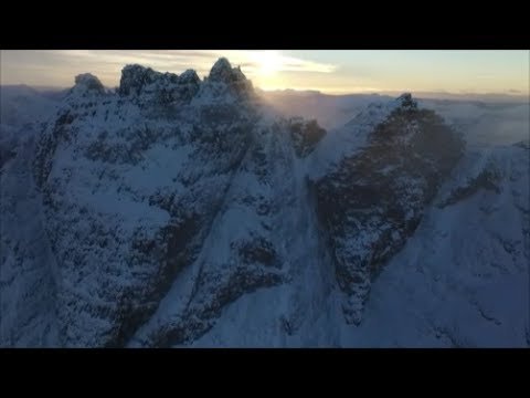 An Teallach, Ridge, Winter, Highland, Scotland from the air by quadcopter drone