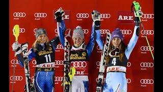 Mikaela Shiffrin first win (SL Åre 2012)