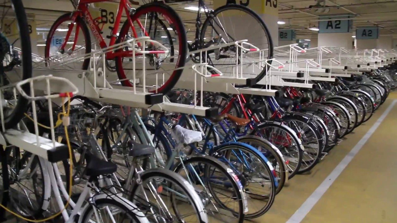 Stacked Bicycle Parking In Kyoto Japan Youtube