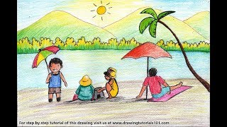 How to Draw a Summer Beach Scene Step by Step - very easy