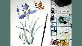 Démo Aquarelle - Iris et papillon - watercolor demo