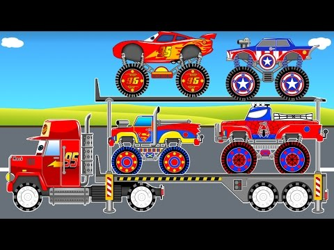 Thumbnail: Color Car Transportation & Mack Truck Spiderman Cars Cartoon for Kids Learn Colors for Toddlers