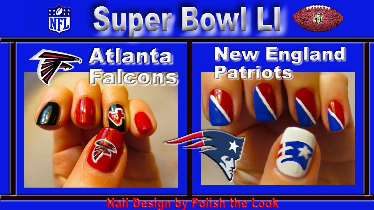 Atlanta Falcons & New England Patriots: DIY Super Bowl Nail Art ...