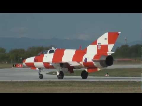 Croatian Air Force, Mig 21 UMD take off, Zagreb, Croatia
