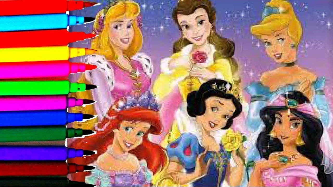 Disney Princess Coloring Book Pages Aurora Sleeping Beauty Ariel Jasmin  Belle Cinerella Mulan Tiana