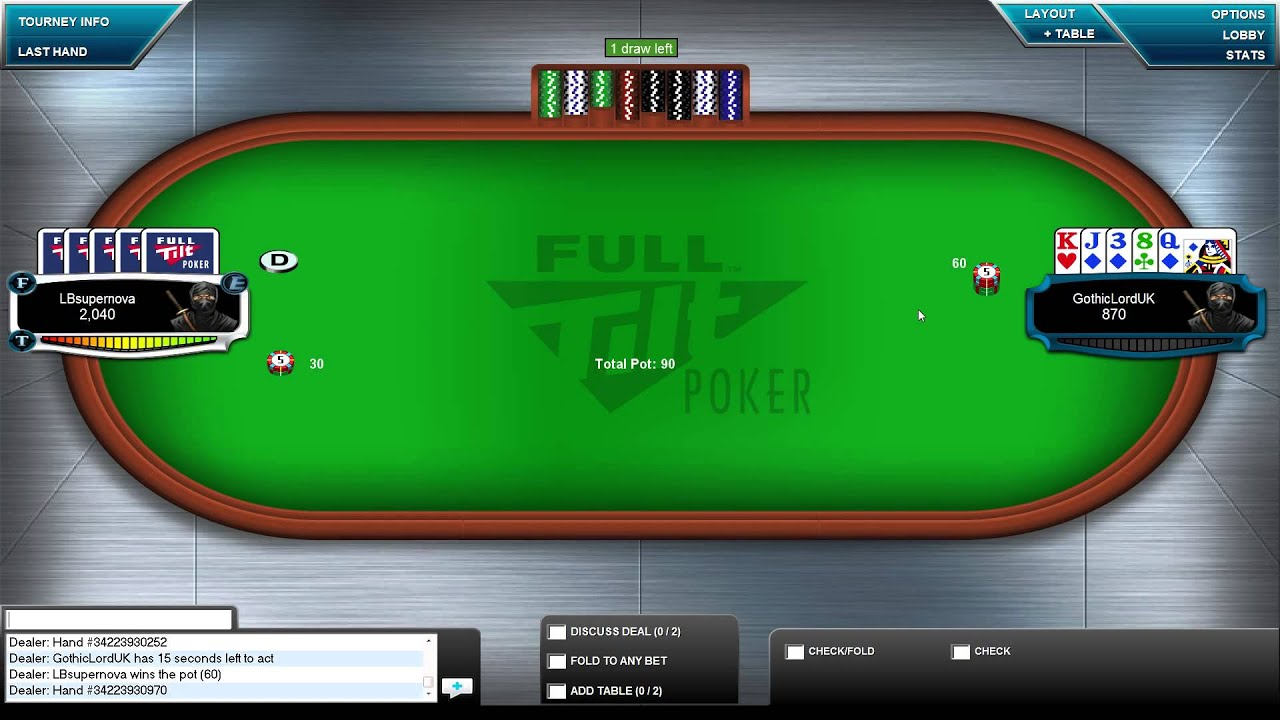Pot Limit 5 Card Draw Turbo Heads Up Sit And Go