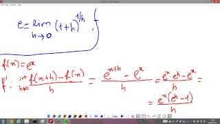 e x derivative demonstration and explanation