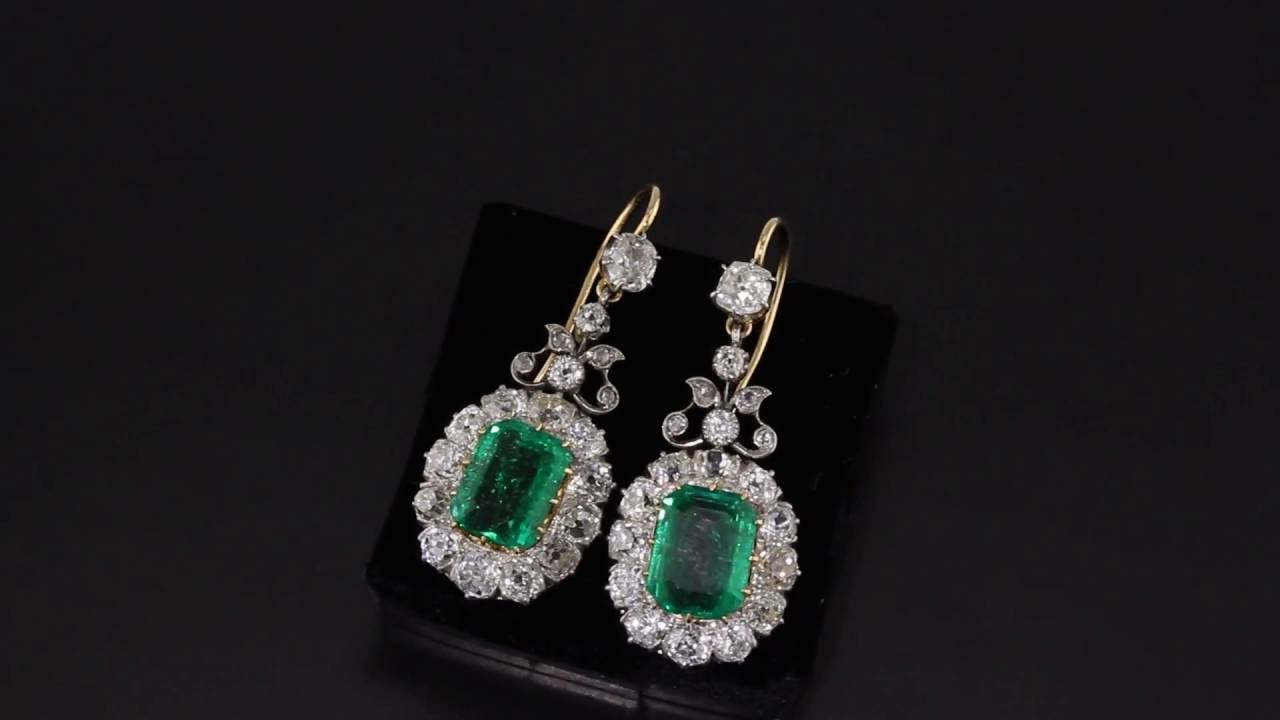 Antique Emerald Diamond Drop Earrings V140