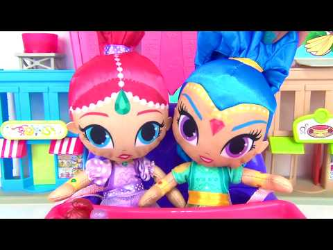 SHIMMER SHINE High Chair Baby Sitting, Feed Ice Cream, M&M's Learn Colors Magic Genie LOL Dolls TUYC