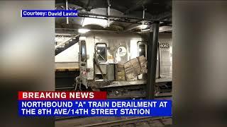 NYC subway train derails after striking debris on track in Manhattan