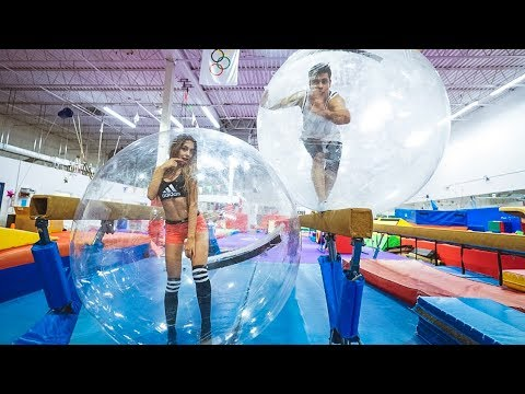 GYMNASTICS INSIDE GIANT BUBBLE BALL AT 3AM!