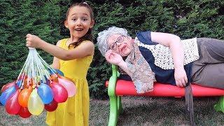 Sulu Şaka!! Grandma Joke on, Kid Family Fun - Hide and Seek - Oyuncak Avı Öykü