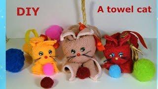 Как сделать котенка из полотенца.  A towel cat