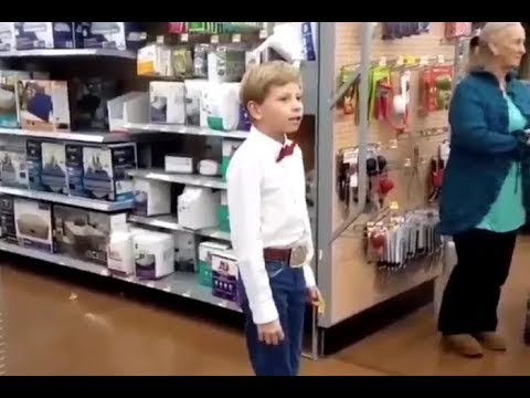Boy Dressed Up As Cowboy Sings Lovesick Blues In Walmart With EDM Remix