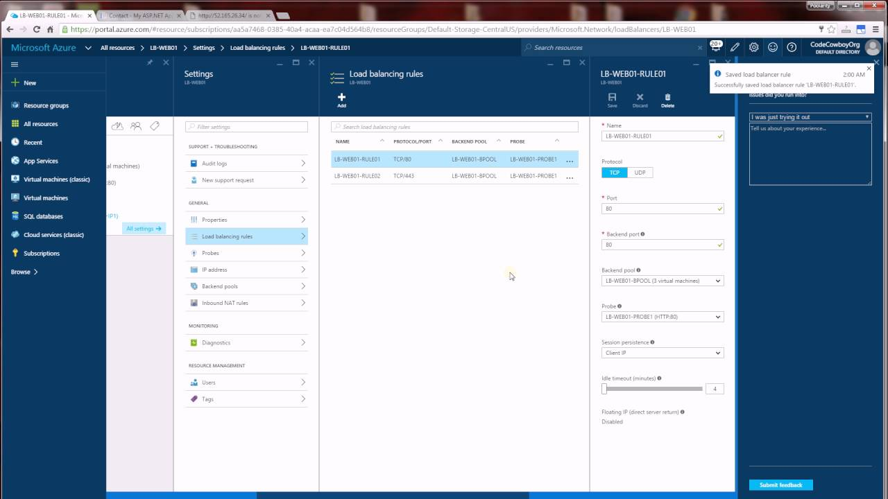 Azure - How To Configure Sticky Sessions for Load Balancer