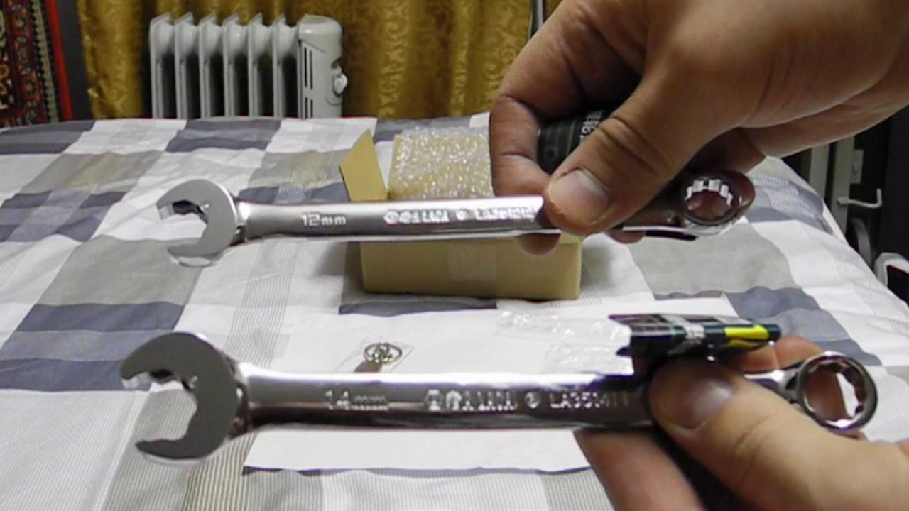 Обзор Набор гаечных комбинированных ключей с трещоткой, 7 шт .