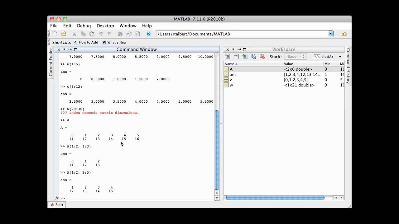 Array manipulation in matlab youtube for Table 2 matrix matlab