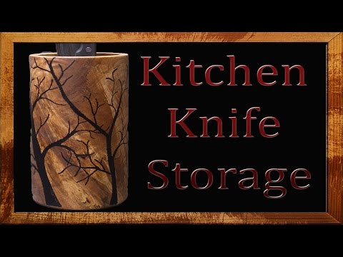 Woodturning - DIY Kitchen Knife Storage With Epoxy Inlay