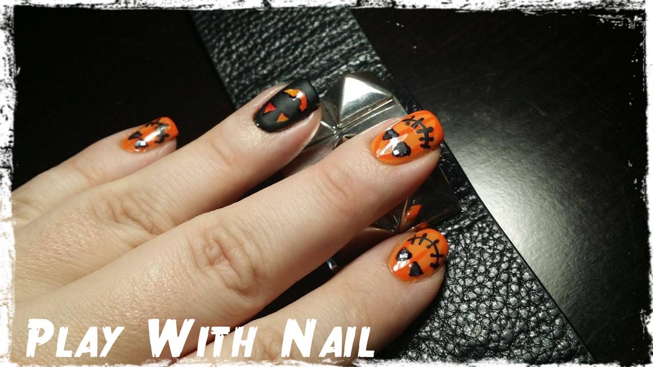 Halloween Pumpkin Nails Youtube