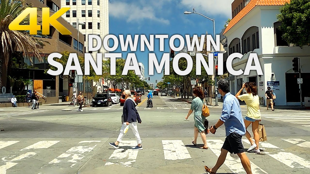 SANTA MONICA - Driving Downtown Santa Monica, Los Angeles, California, USA, 4K UHD