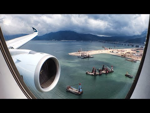 WING VIEW - Cathay Pacific A350-900 Approach and Landing in Hong Kong